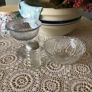 Vintage Dining - Antique odds and ends embossed glass three pieces